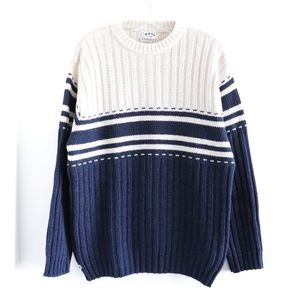 Blue fisherman thick knit wool warm striped men's